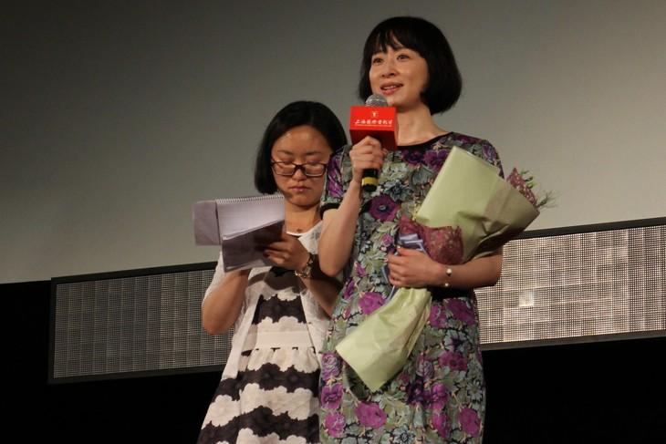 第18回上海国際映画祭にて、「ロマンス」ワールドプレミアに登壇したタナダユキ(右)。