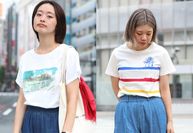 左からKastane×「バケモノの子」バケモノ界プリントTシャツとトートバッグ、CIAOPANIC TYPY×「バケモノの子」ボーダーTシャツ。