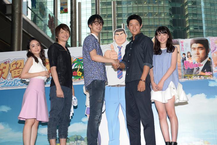 「俺物語!!」映画&アニメスペシャルコラボレーションイベントにて。(左から)潘めぐみ、島崎信長、江口拓也、鈴木亮平、永野芽郁。