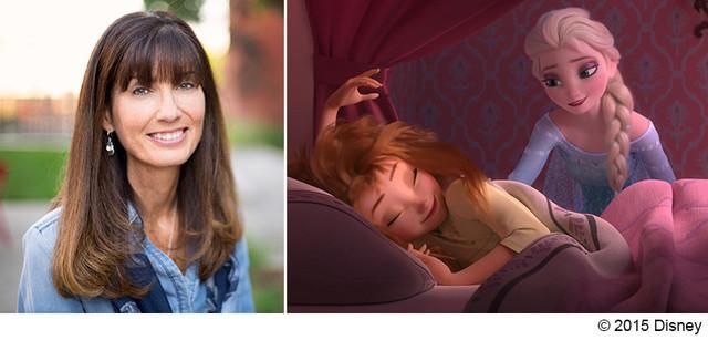 「アナと雪の女王/エルサのサプライズ」のプロデューサーを務めたエイミー・スクリブナー(左)。(c) 2015 Disney