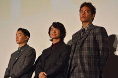 左から染谷将太、神木隆之介、佐藤健。