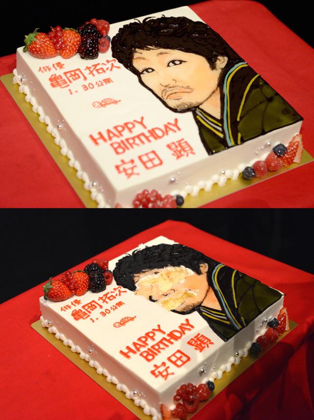 安田顕のために用意されたバースデーケーキ(上)と、本人が食べたあとのケーキ(下)。