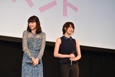 中島健人にイジられる岸優太を見て笑う小松菜奈(左)と高月彩良(右)。