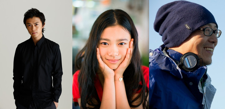 京楽ピクチャーズ.PRESENTS ニューウェーブアワード受賞者。左から勝地涼、杉咲花、土井裕泰。