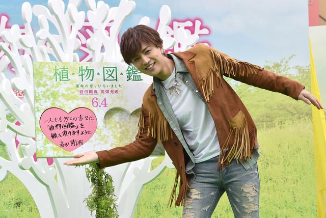 「恋愛成就の木」にメッセージをはめ込む岩田剛典。