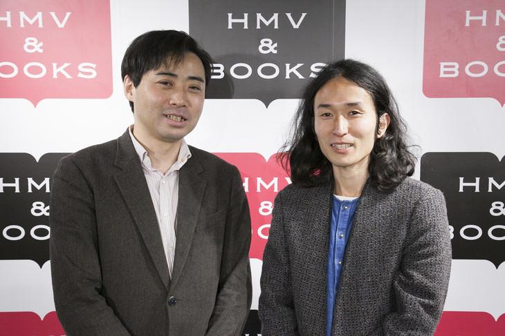 「バケモノの子」Blu-ray / DVD発売記念トークショーに登壇した、齋藤優一郎(左)と高木正勝(右)。