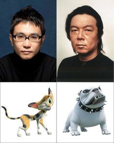 「ルドルフとイッパイアッテナ」上段左から八嶋智人、古田新太。下段左から八嶋が声優を務めるブッチー、古田が声を当てるデビル。
