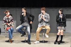 「仮面ライダーアマゾンズ」製作発表会見より、左から東亜優、谷口賢志、藤田富、武田玲奈。