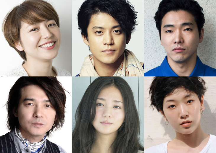 「追憶」出演者。左上から時計回りに長澤まさみ、小栗旬、柄本佑、安藤サクラ、木村文乃、吉岡秀隆。