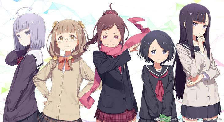 「ポッピンQ」主要キャラ。左から都久井沙紀、友立小夏、小湊伊純、大道あさひ、日岡蒼。