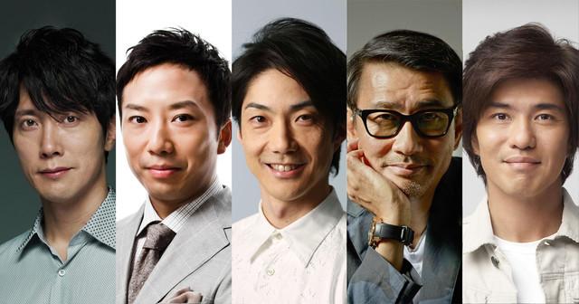 「花戦さ」の主要キャスト。左から佐々木蔵之介、市川猿之助、野村萬斎、中井貴一、佐藤浩市。