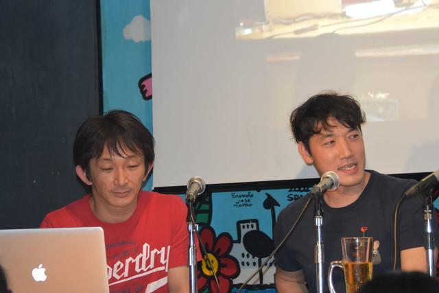 左から谷垣健治、テレビドラマ「牙狼〈GARO〉-GOLD STORM-翔」のアクション監督・富田稔。