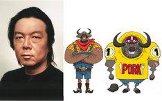 左から古田新太、ケント・ビーフJr.&ポーク。