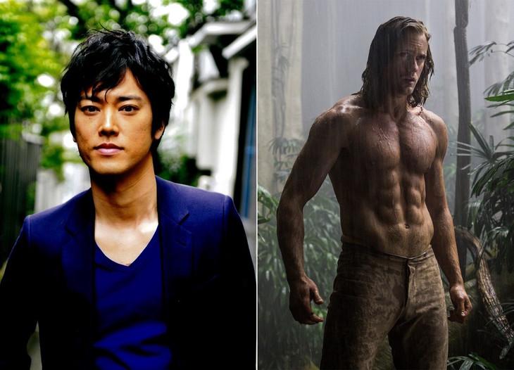 「ターザン:REBORN」日本語吹替版でターザンの声を担当する桐谷健太(左)、アレクサンダー・スカルスガルド演じるターザン(右)。