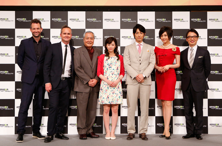 Amazonプライム・ビデオ日本オリジナル作品記者発表会のようす。