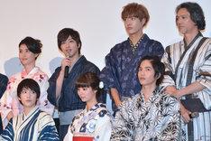 下段左から知英、新川優愛、志尊淳。上段左から橋本マナミ、横浜流星、TAKUYA(CROSS GENE)、加藤雅也。