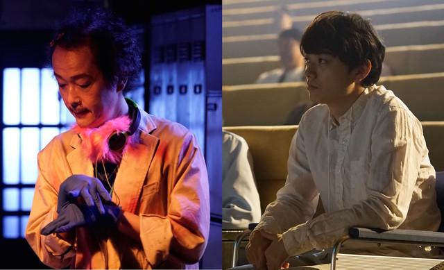 「CROW'S BLOOD」より、リリー・フランキー演じる葬儀屋(左)、染谷将太演じる車椅子の男(右)。