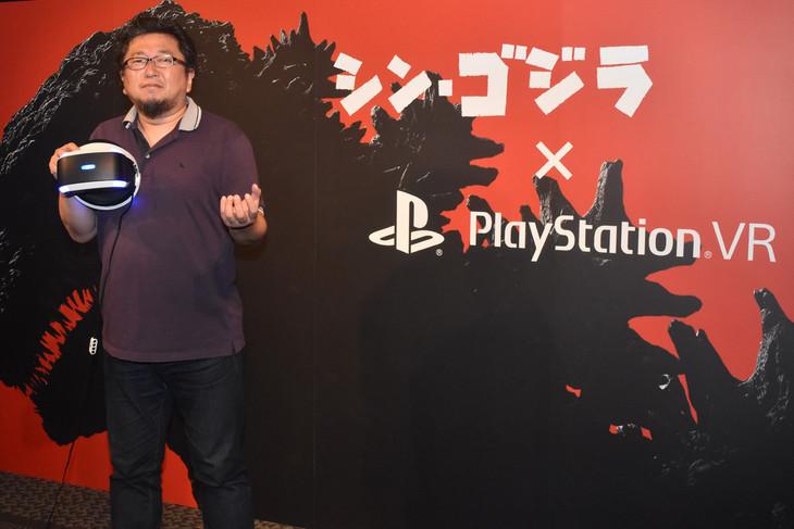 「『シン・ゴジラ』スペシャルデモコンテンツ for PlayStation VR」のトークショーに出席した樋口真嗣。