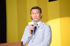 舞台挨拶のMCを務めた、中井扮する「グッドモーニングショー」の主人公・澄田真吾。