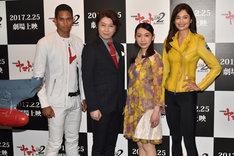 「宇宙戦艦ヤマト2202 愛の戦士たち」製作発表会の様子。左からケンブリッジ飛鳥、小野大輔、桑島法子、Kelly。