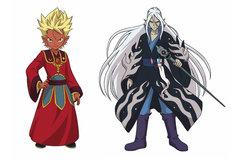 「映画 妖怪ウォッチ 空飛ぶクジラとダブル世界の大冒険だニャン!」より、アニメ版エンマ大王(左)とアニメ版ぬらりひょん(右)。