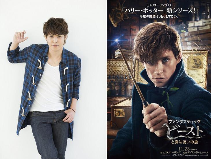 宮野真守(左)と、エディ・レッドメイン演じるニュート・スキャマンダーのキャラクタービジュアル(右)。