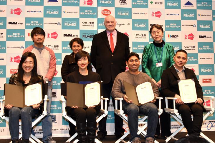第17回東京フィルメックス授賞式の登壇者たち。