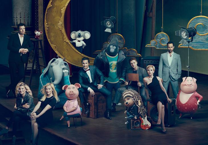 「SING/シング」劇中に登場するキャラクターと、彼らに声を当てたキャスト。