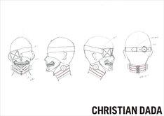 森川マサノリによるカネキのマスクのデザイン画。