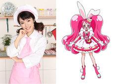 美山加恋(左)とキュアホイップのビジュアル(右)。