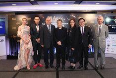 第11回アジア・フィルム・アワード記者会見の様子。中央が審査委員長のジャ・ジャンクー。(c)Asian Film Awards.