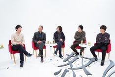 「怒り」ビジュアルコメンタリーより、左から李相日、渡辺謙、森山未來、松山ケンイチ、綾野剛。