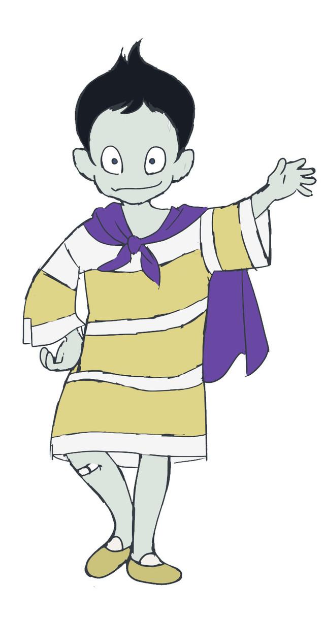 吉野裕行演じる古本市の神様のキャラクター画像。
