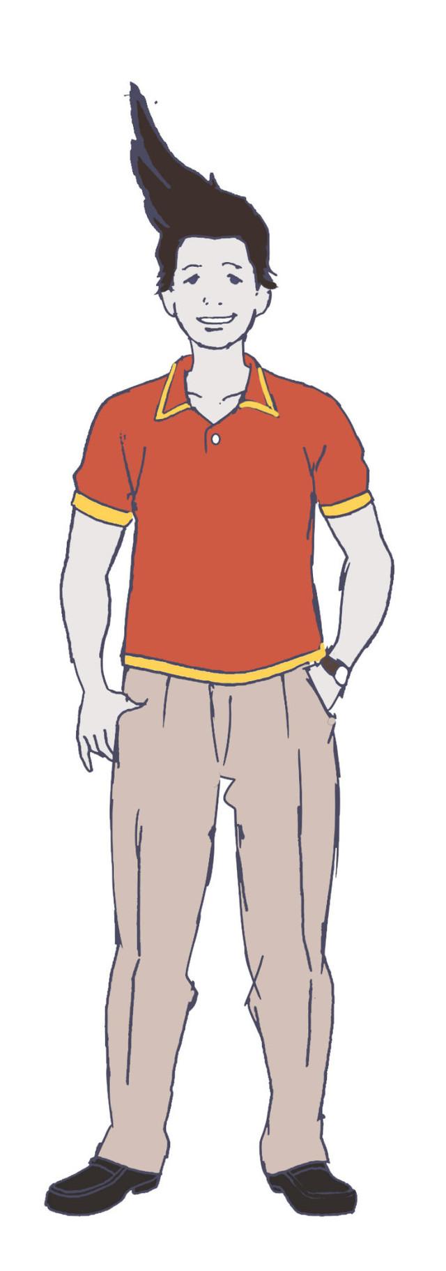諏訪部順一演じるニセ城ヶ崎のキャラクター画像。