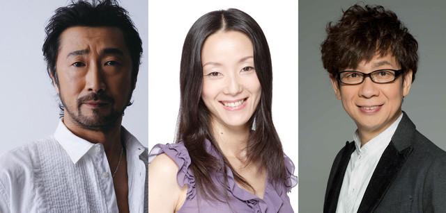 「ゴースト・イン・ザ・シェル」の日本語吹替キャスト。左からバトー役の大塚明夫、少佐役の田中敦子、トグサ役の山寺宏一。