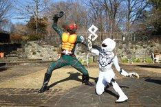「仮面ライダー×スーパー戦隊 超スーパーヒーロー大戦」より。右がジュウオウタイガー。
