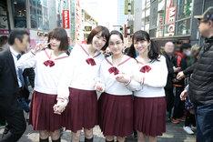 「暗黒女子」公開直前イベントにて、東京・原宿の竹下通りを歩くキャストたち。