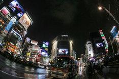 菅田将暉のCDデビューを知らせる渋谷の街頭ビジョン。(撮影:西田航[WATAROCK])