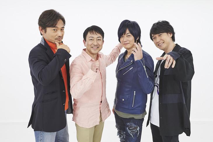 「仮面ライダー電王」スペシャル座談会の様子。左からてらそままさき、関俊彦、遊佐浩二、鈴村健一。