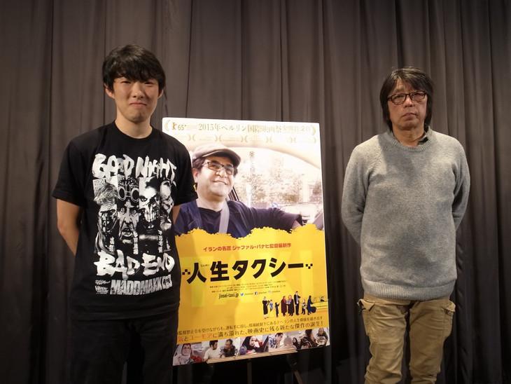 4月15日に行われた「人生タクシー」トークイベントでの松江哲明(左)と森達也(右)。