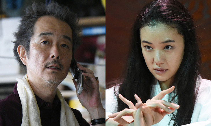 リリー・フランキー演じる南(左)、蒼井優演じる河合節子(右)。