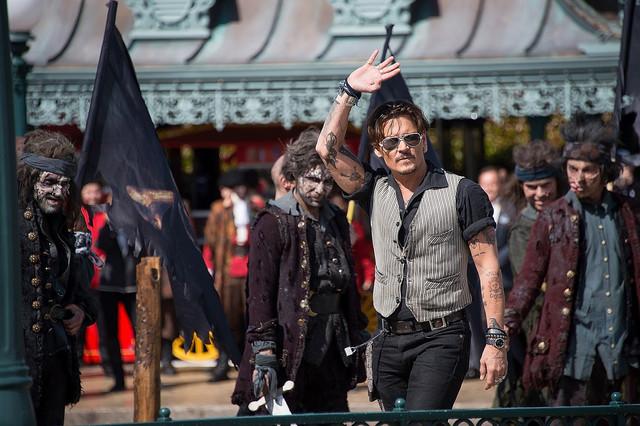 「パイレーツ・オブ・カリビアン/最後の海賊」ヨーロッパプレミアに出席したジョニー・デップ。