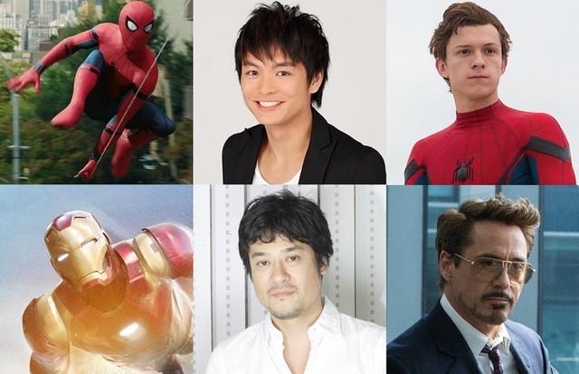 「スパイダーマン:ホームカミング」日本語吹替版キャストの榎木淳弥(上段中央)、藤原啓治(下段中央)。
