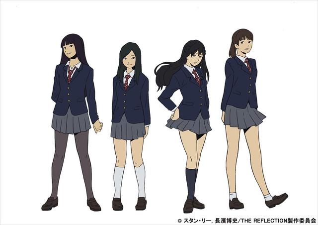 左からカナ、ヒロ、ウキ、サヤのキャラクター設定画。