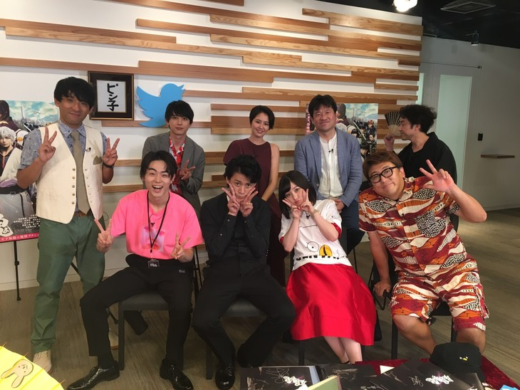 「銀魂」Twitter特番配信終了後のキャストたち。