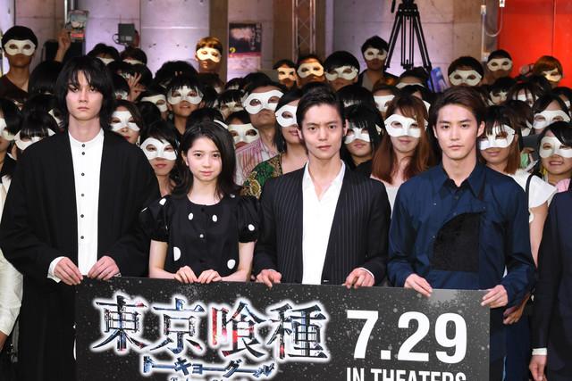 「東京喰種 トーキョーグール」公開直前イベントの様子。左から柳俊太郎、桜田ひより、窪田正孝、白石隼也。