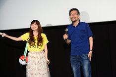 観客からのアンコールの声にほほえむ中川翔子と湯山邦彦。