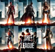 「ジャスティス・リーグ」キャラクターポスター。左上から時計回りにフラッシュ、バットマン、ワンダーウーマン、アクアマン、5人が集結したもの、サイボーグ。