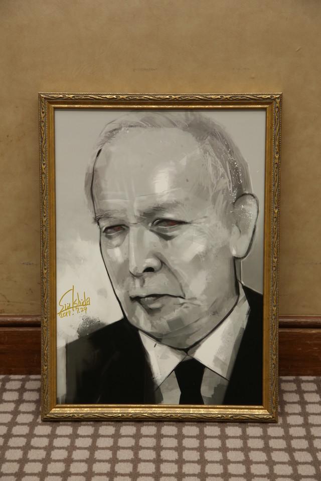 石田スイが描いた、村井國夫演じる芳村功善。