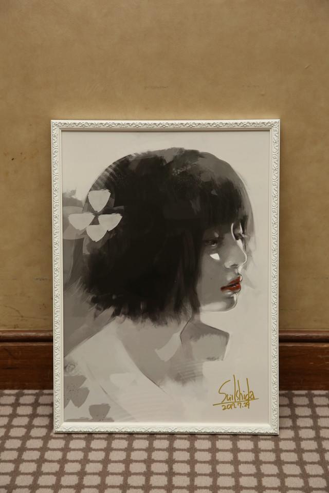 石田スイが描いた、桜田ひより演じる笛口雛実。